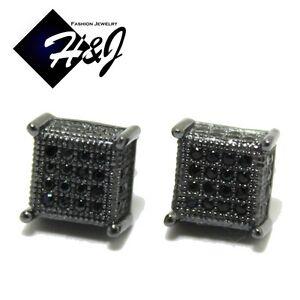 MEN 14K BLACK GOLD FINISH 7x7MM BLACK ICY DIAMOND BLING 3D STUD EARRING