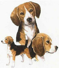 BEAGLE MULTI-DOG Pose with 12 identical six inch Fabric Squares to Quilt & Sew