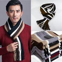 US Men Cashmere Scarf Winter Warm Fringe Striped Tassel Long Shawl Wrap Scarves