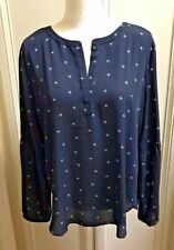 ANN TAYLOR LOFT Navy Blouse Shirt Tunic Size L Polyester Long Sleeves