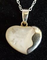Sterling silver mother of pearl vintage Art Deco antique heart pendant necklace