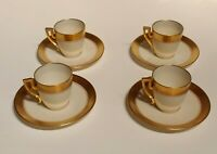 Vintage Tiffany & Co Lenox Gold Set of 4 Demitasse Tea Cups & 6 Saucers 1920's