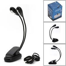 Hot Flexible 2 Dual Arm Light 4 LED Clip On Lamp For Book Reading Tablet Laptop