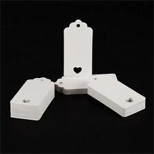 100x blanco papel Kraft colgar etiquetas boda favor etiqueta precio tarjeta