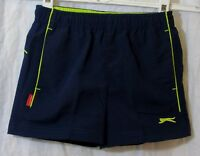 Boys Slazenger Dark Navy Blue Neon Piped Elasticated Waist Shorts Age 2-3 Years