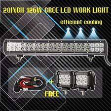 "20inch LED Light Bar Spot Flood Combo + 2x 4"" CREE Pods Ford SUV 4WD Jeep ATV 24"