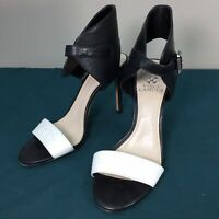 Used Vince Camuto Black & White Leather Women's Ankle Wrap Open Toe Heels sz 7 M