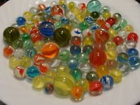 100 Vintage Classic Cats Eye Marbles Multicolor Red Blue Yellow Green Orange #3