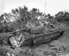 WWII Photo US M4 Sherman Tank on Iwo Jima World War Two  WW2 Pacific USMC / 3082