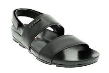 Prada Sandals Slip On Adjustable Strap Black Leather Size 9 US/8 UK New