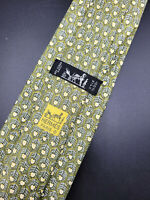 Hermes Paris Made In France Green Geometric Pattern Silk Tie 7585 SA