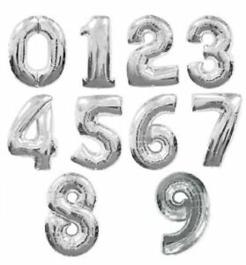 16 Inch Silver Foil Balloons 0-9 Arabic Number Design Birthday Party Decoration