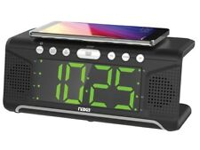 Naxa NRC-190 Dual Alarm Clock +Qi/USB Cell Phone Wireless Charging Function +FM