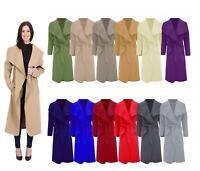 New Ladies Womens Waterfall Duster Oversized Belted Drape Wrap Long Italian Coat
