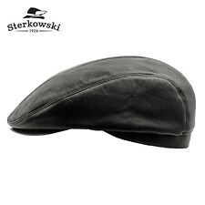 Sterkowski ED Leather Winter Flat Cap Irish Vintage Driving Gatsby Retro