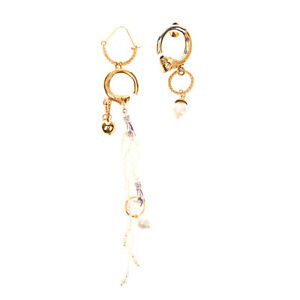 RRP €490 PATOU Brass & Pearl Bold Asymmetrical Drop Earrings HANDCRAFTED Charms