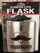 Brand New I Love Mustaches 6oz. Stainless Steel Flask