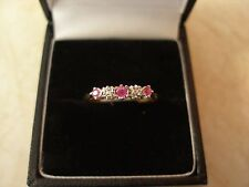 9 CARAT GOLD RUBY & DIAMOND SET ETERNITY / WEDDING / DRESS RING MADE IN UK BNIB