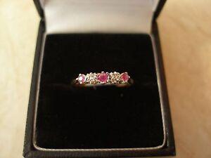 9 CARAT GOLD RUBY & DIAMOND SET ETERNITY / WEDDING / DRESS RING MADE IN UK BNIB
