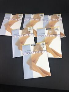 1 PAIR Round the Clock Girdle at Top Sheer Pantyhose Reinforced French Navy 137