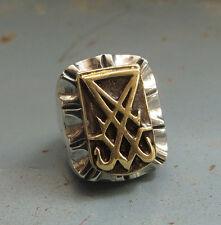Ring sterling silver Seal of Satan Baphomet Pentagram Sigil Lucifer Mexican