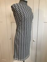 CHAPS by Lauren Ralph casual black/white sleeveless circular neck sheath dress 8