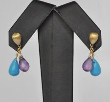 Marco Bicego Turquoise Amethyst Earrings 18K Yellow Gold  $935 New Acapulco Sale