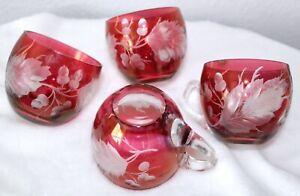 Cut Crystal Ruby Glass Punch Cups SET 12 by Colony MID CENTURY Acorn Leaf Design