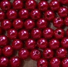 50 Perlen perlmutt rot Hochzeit Wachsperlen 10mm zum Auffädeln Dekoperlen