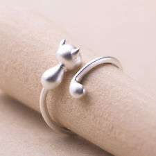 Women's Silver Smooth Cat Long Tail Rings Animal Adjustable Finger Open Jewelry