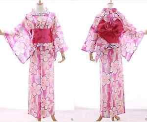 K-013 pink rosa weiß Sakura Blumen ORIGINAL Japan Kimono YUKATA OBI Gürtel