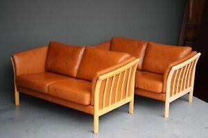 Vintage original Danish pair full leather sofas settees teo seaters blonde wood