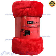 NEW RED HOTEL QUALITY FAUX FUR SOFT COZY BED SOFA THROW BLANKETs ROLLMINK THROWS