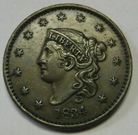 1834 Lg 8 Sm Stars Med Letters Coronet Large Cent Grading XF+ Beautiful  L95