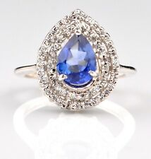 Natural Royal Blue Tanzania Tanzanite 1.85Ct Pear Shape Solitaire Ring In 925