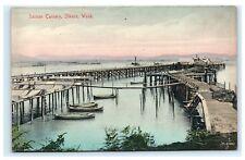 Salmon Cannery Ilwaco WA Washington Postcard Boats Docks Piers C14