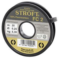 STROFT FC2 25 m Fluorocarbon Angelschnur 0.09 mm bis 0.60 mm Kristall transp.