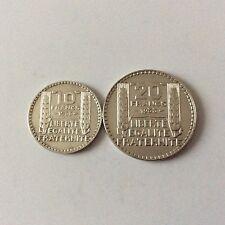 2 pièces en argent France 10 F et 20 F Type Turin 1933