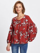 Red Lantern Sleeve Floral printed Casual smock top Size S -Au Seller