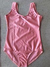 LIGHT PINK Dance Leotard AGE 7-11, SHINY Girls BELT Sleeveless JUNE Nylon Ballet