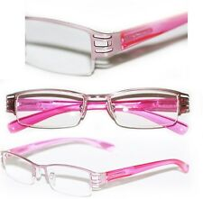 Reading Glasses  BRUSHED METAL Cut-Out Frame Narrow Lens Posh Girly PINK +1.50