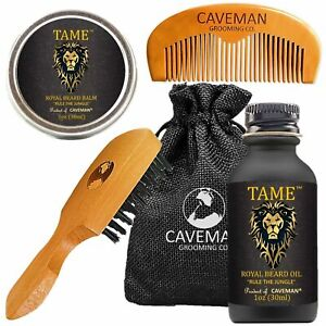 Beard Oil Growth Kit for Men - Tame Grooms Beard & Mustache Promotes Hair Growth