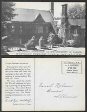 Old University of Illinois Postcard - 1942 Wesley Foundation Mortgage Burning