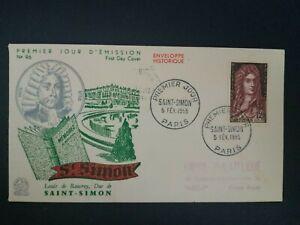 FRANCE PREMIER JOUR FDC YVERT 1008 DUC DE SAINT SIMON 12F PARIS 1954