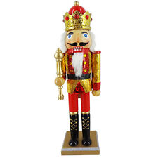 Holiday Nutcracker Figure King in Gold Hologram Jacket and Red Crown N1524