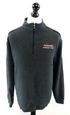 NIKE GOLF Mens Jumper Sweater M Medium Grey Cotton & Polyester 1/4 Zip Dri-Fit