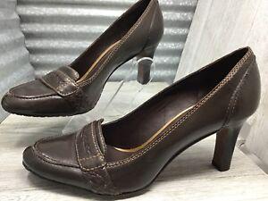 Antonio Melani Career Pump Penny Loafer Brown Leather Moc-Toe  Size 8.5