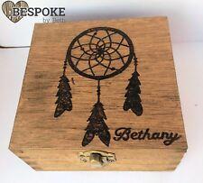 Personalised Wood Keepsake Memory Box 12cm Dream Catcher Hippy Christmas Gift