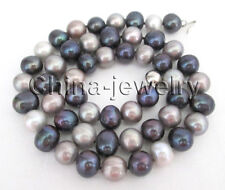"""& gray freshwater pearl necklace - Gp P7775 - 19"""" 9-10mm natural round black"""