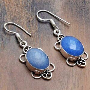 "Blue Sapphire Handmade Drop Dangle Earrings Jewelry 1.8"" AE 31391"